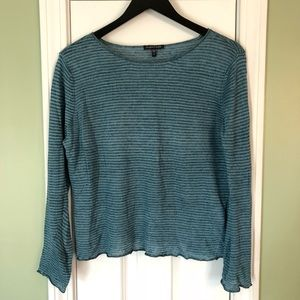 Eileen Fisher Teal Striped 100% Linen Knit Sweater